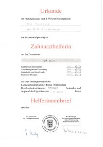Urkunde - Zahnarzthelferin