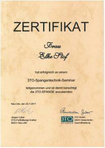 Zertifikat - 3TO-Spangentechnik