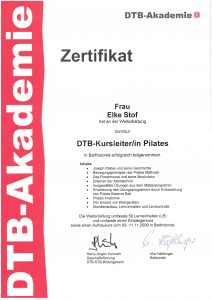 Zertifikat - DTB-Kursleiterin Pilates