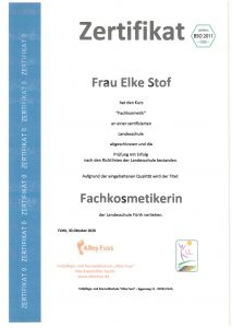 Zertifikat - Fachkosmetik