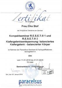 Zertifikat - R.E.S.E.T und Kiefergelenksentspannung