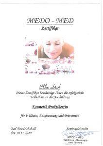 Zertifikat - Kosmetik-Praktikerin