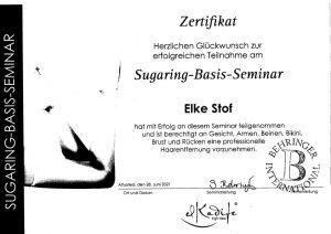 Zertifikat - Sugaring-Basis